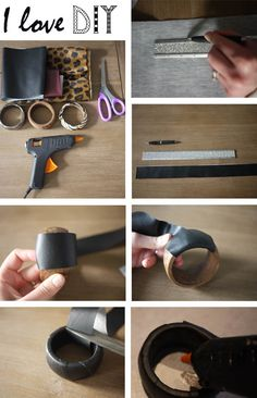 Recycle your old wood bangle in leather and leopard ones ! Super easy steps for trendy accesories