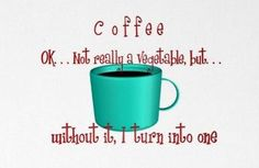 Coffee: It's not really a vegetable, but without it I turn into one...