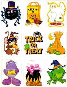 Spooky stickers: 16 vintage Halloween sticker sheets from the seventies & eighties at Click Americana - #stickers #stickersheets #halloween #halloweenstickers #halloweendecor #vintage #vintagehalloween #80s #70s #clickamericana Vintage Halloween Cards, Retro Halloween, Halloween Clipart, Halloween Stickers, Happy Halloween, Halloween Stencils, Halloween Designs, Haunted Halloween, Halloween Images