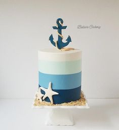 Hope anchors the soul! - A nautical theme cake, with blue ombre stripes representing the ocean blues, anchor made out of gum - Nautical Birthday Cakes, Nautical Cake, Birthday Cakes For Teens, Cute Birthday Cakes, Nautical Theme, Boy Birthday, Birthday Parties, Pretty Cakes, Cute Cakes