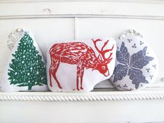 Holiday Season Pillow Set. Reindeer, Christmas Tree, and Snowflake. Hand Woodblock Printed. Made to Order. SAVE 20%
