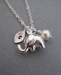 Personalized Tiny elephant necklace in Sterling by RoyalGoldGifts, $32.00