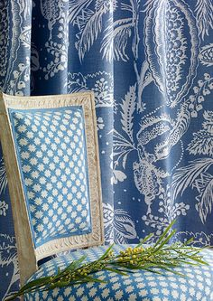 Manuel Canovas - New Collection - Madera (chair), Pali Lin (curtain) Fabric Collection, Fabric Textures, Designer Fabric Collections, Fabric, Fabric Wallpaper, Manuel Canovas, Fabric Design, Blue And White, Home Wallpaper