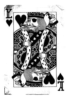 Pirate King of Hearts - Playing Card Art Poster Canvas Print