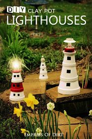 a Garden Art Lighthouse from Clay Pots Make your own decorative lighthouses from clay flower pots. This project is kid-friendly, can be made in an afternoon (plus paint drying time), and is a fun way to create a souvenir. Clay Pot Projects, Clay Pot Crafts, Diy Clay, Clay Flower Pots, Flower Pot Crafts, Clay Pots, Garden Crafts, Garden Projects, Garden Ideas