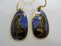 CAT With MOON & SUN Goldtone & Black & BLUE Enamel Earrings Signed DISCOVERY