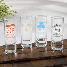 Personalized Fun 2 oz Shooter Glasses - Birthday Design- Get the mood going at your next event with these fun little shooter glasses. They can be personalised with a birthday message and offered as favors for your guests to take home. The shooter gla Jam Wedding Favors, Edible Wedding Favors, Unique Wedding Favors, Diy Wedding, Handmade Wedding, Trendy Wedding, Wedding Ideas, 60th Birthday Party, Birthday Party Favors
