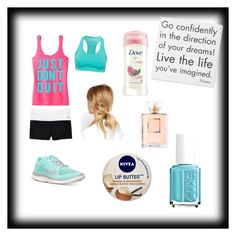 """""""Off for a run!"""" by christiannawebster3 ❤ liked on Polyvore featuring Victoria's Secret, adidas, NIKE, ASOS, Dove, Nivea, Essie and Chanel"""