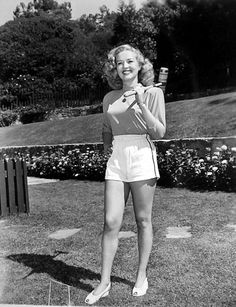Betty Grable playing croquet