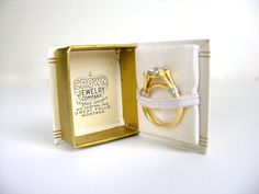 Vintage Ring Box Tiny Book Antique White Gold Jewelry by veraviola,