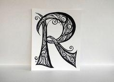 Items op Etsy die op Alphabet Letter R with Black Swirls, Hand-Drawn Monogram, Personalized Art - Print lijken Bullet Journal Font, Journal Fonts, Journaling, Doodle Lettering, Lettering Design, Typography, Celtic Fonts, Graffiti Tattoo, Fancy Letters