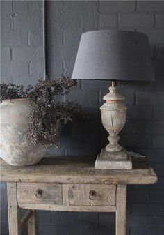 lamp and pot Wabi Sabi, Interior Styling, Interior Decorating, Welcome To My House, Rustic Cottage, Cool House Designs, Elegant Homes, Rustic Interiors, Home Decor Furniture