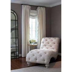 Bedroom Reading Corner French Chaise Lounge ❤ liked on Polyvore featuring home, furniture, chairs, accent chairs, room, cream chair, ivory accent chair, beige chair, tufted accent chair and tufted chaise lounge chair