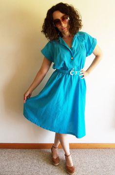 Vintage Blue Classic Shirt Dress by FunkyOldSoul on Etsy