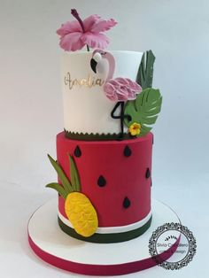I made this tropical themed cake for Amalia's birthday party! She wanted a flamingo cake but also including some fruits! Hawaii Cake, Pool Party Cakes, Beautiful Cake Designs, Flamingo Cake, Watermelon Cake, Summer Cakes, Cake Trends, Creative Cakes, Themed Cakes