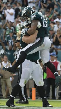 Ryan Mathews #24 of the Philadelphia Eagles celebrates with Beau Allen #94 after scoring a touchdown in the fourth quarter against the Cleveland Browns at Lincoln Financial Field on September 11, 2016 in Philadelphia, Pennsylvania. The Eagles defeated the Browns 29-10.