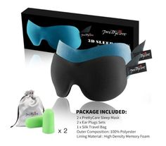 Sleep Mask (New Design by PrettyCare with 2 Pack) Eye Mask for Sleeping - Contoured Eyemask Silk - Blindfold Airplane with Ear Plugs,Travel Pouch - Best Night Blinder Eyeshade for Men Women Kids Night Blinds, Ear Plugs, Mask Design, Sleep Mask, Travel Bag, Memory Foam, Pouch, Kids, Airplane