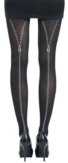 Flocked Zip Tights – Buy now at EMP – More Gothic Rockabilly Pastel Gothic Nu Goth Everyday Goth Special Occasions available online - Unbeatable prices! Nu Goth, Rockabilly, Everyday Goth, 17 Black, Black Tights, Rock Style, Flocking, Summer Sale, Sexy Lingerie