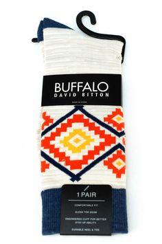 Buffalo David Britton Oatmeal Orange Blue Tribal Socks - $18 Retail - Brand New #BuffaloDavidBitton #Dress