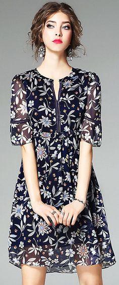 Elegant O-Neck Short Sleeve Floral Print A-Line Dress