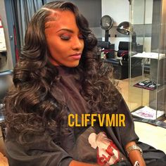 Side part sew in with curls using my raw Indian #cliffvmir