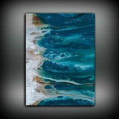 Abstract Art Blue Wall Art Coastal Landscape by LDawningScott
