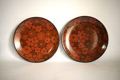 Crown Lynn Echo Daisy Side Plates - Vintage Flower Power - Set of Four - Dinnerware - Made in New Zealand