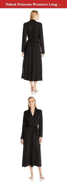 Naked Princess Women's Long Robe, Black, Medium/Large. This elegant floor-length micro modal robe provides light weight coverage that embraces a feminine silhouette.