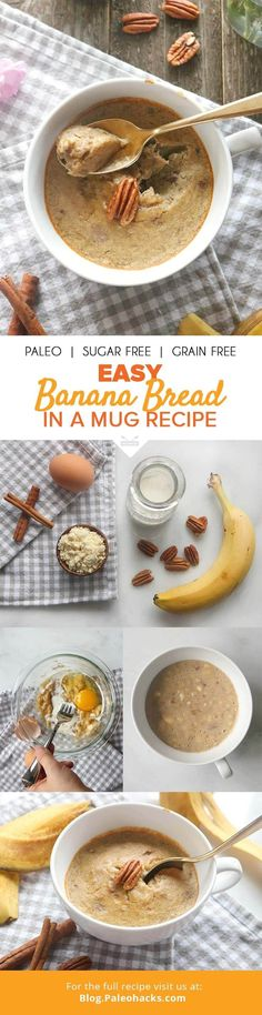 One serving healthy banana bread in a mug for one. All the goodness of banana bread baked into a mug! A cozy sweet treat with zero fuss and minimal clean up! Paleo Sweets, Paleo Dessert, Healthy Desserts, Delicious Desserts, Dessert Recipes, Yummy Food, Healthy Breakfasts, Paleo Vegan, Paleo Diet