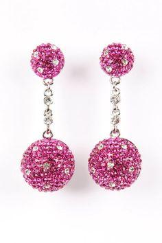 Pretty Pink Crystal Ball Earrings