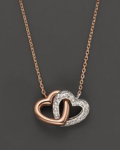 Diamond Interlocking Heart Pendant in 14K Rose and White Gold, .11 ct. t.w.