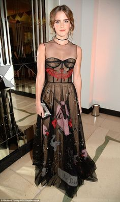 Emma Watson even put her distinct stamp on a Halloween outfit, stunning in an exquisite embroidered gown at the Harper's Bazaar Women of the Year Awards in London on MOnday night