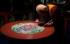 "Mandala - A Tibetan Monk creating a Mandala at ""Festival dell'Oriente 2012"" in Carrara, Italy."