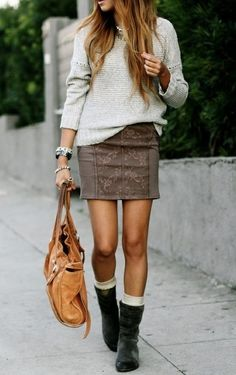 This is a great weekend outfit, it all works. I love this textured brown skirt. Socks with boots is my favourite statement for colder weather.