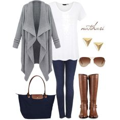 A fashion look from February 2014 featuring Topshop jeans, Cole Haan boots and Longchamp tote bags. Browse and shop related looks.