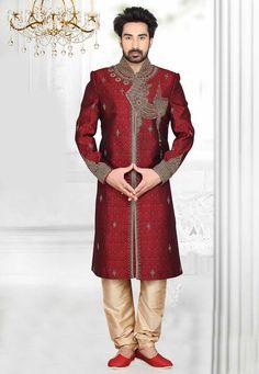 Buy Maroon Art Silk Brocade Readymade Sherwani with Churidar online, work: Embroidered, color: Maroon, usage: Wedding, category: Mens Wear, fabric: Art Silk, price: $338.00, item code: MAT55, gender: women, brand: Utsav