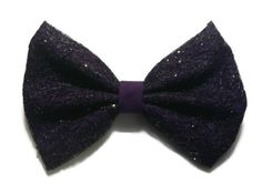 Purple and Black lace with glitter fabric hair bow