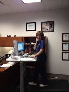 I stand or use a bike or treadmill desk to work checking emails writing, reading and on the phone.  It burns calories keeps me awake in the afternoon and then I don't have to go to the gym after work!  Submitted by: Cecilia T. Valdes MD