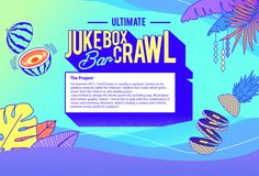On Summer TouchTunes is running a summer contest on its jukebox network called the Ultimate Jukebox Bar Crawl, which gives music fans the chance to win weekly prizes. I was invited to design the whole promo kit, including logo, illustration and mot… Music Theme Birthday, Birthday Party Design, Promotional Banners, Promotional Design, Record Label Logo, Online Web Design, Event Banner, Graphic Design Posters, Illustrations And Posters