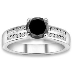 1.74 ctw 14k WG AAA Black, Accent G-H Color, I1 Clarity Diamonds Engagement Ring http://www.pricepointshop.com