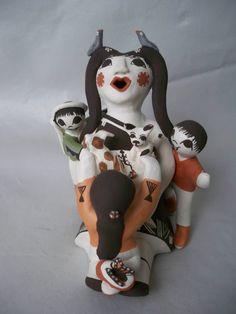 Acoma Pueblo Indian Pottery Storyteller w/ Cat & Dog Judy Lewis