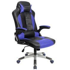 Homall Computer Desk Chair Executive Swivel Leather Office Chair Racing Style Task Chair Highback Gaming Chair Blue >>> Continue to the product at the image link.Note:It is affiliate link to Amazon.
