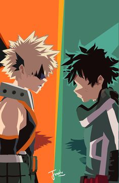 deku and bakugou - minimalist wallpaper by Joosherino on DeviantArt Cool Anime Wallpapers, Cute Anime Wallpaper, Animes Wallpapers, Cartoon Wallpaper, My Hero Academia Shouto, My Hero Academia Episodes, Hero Academia Characters, Anime Characters, Boku No Academia