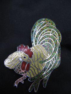 Margot de Taxco Enamel Rooster Brooch