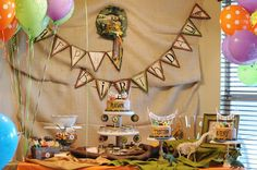 rustic dinosaur birthday party idea for twins. see more at www.karaspartyideas.com