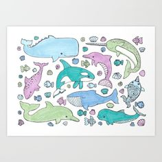 Whales and Dolphins art print. Available as tote bags, pillows, wall clocks and more! https://society6.com/product/whales-and-dolphins-dzr_print#1=45