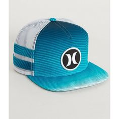 Hurley Block Party Flow 2.0 Trucker Hat ($28) ❤ liked on Polyvore featuring men's fashion, men's accessories, men's hats, blue and mens snapback hats