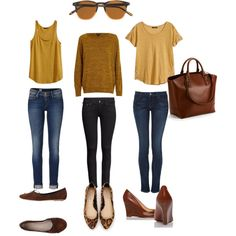Mustard and brown leather summer/fall outfit