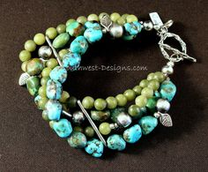 4-Strand Turquoise and Jade Bracelet with Oxidized Sterling Silver Rounds, Handcrafted Sterling Space Bars, and Sterling Leaf Charms & Ornate Toggle Clasp