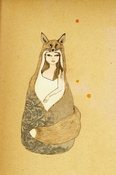 Foxy Girl Deluxe Edition Print of original drawing by IrenaSophia